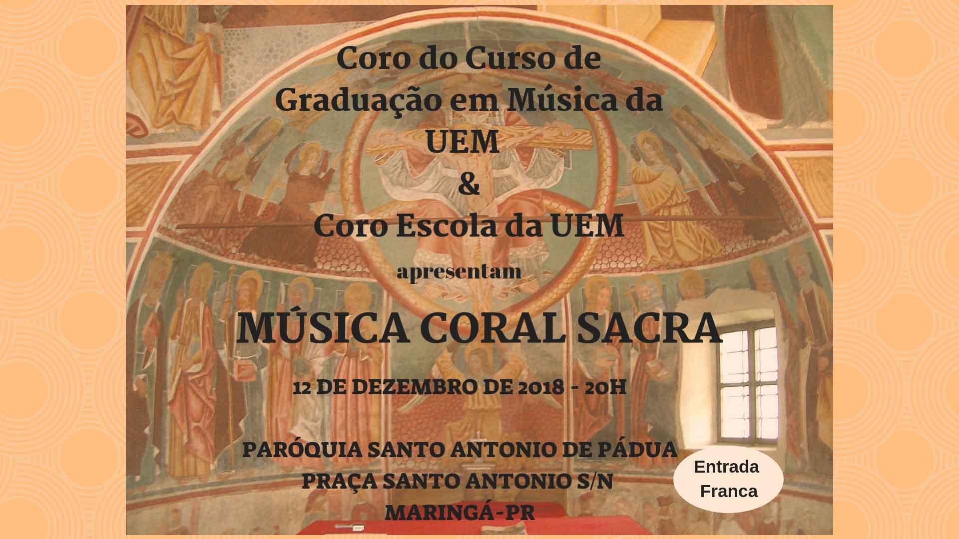 Coro do curso de Música & Coro Escola farão concerto de música coral sacra