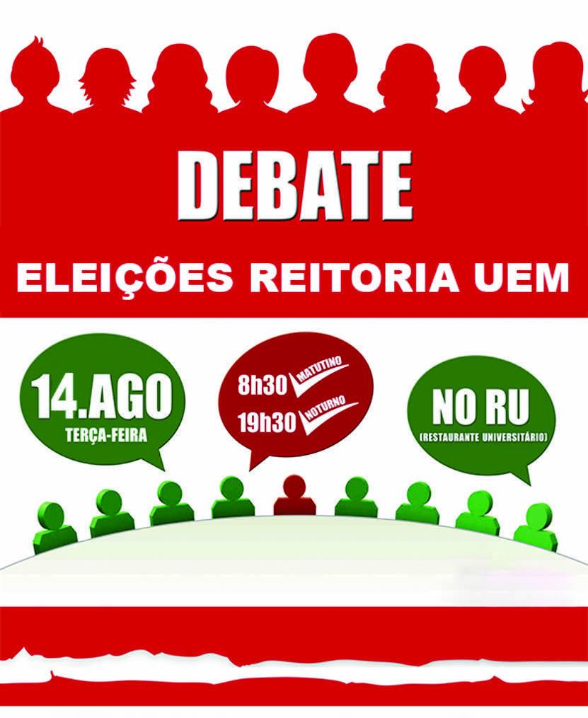Debate com os candidatos à Reitoria da UEM ocorre nesta terça-feira, dia 14