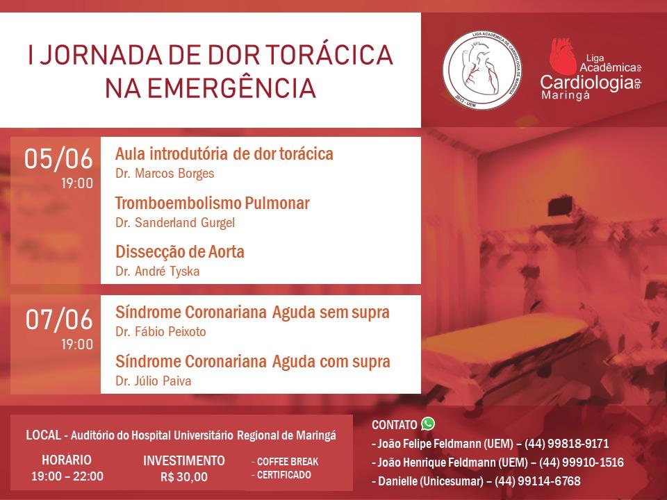 I Jornada de Dor Torácica na Emergência será no HUM