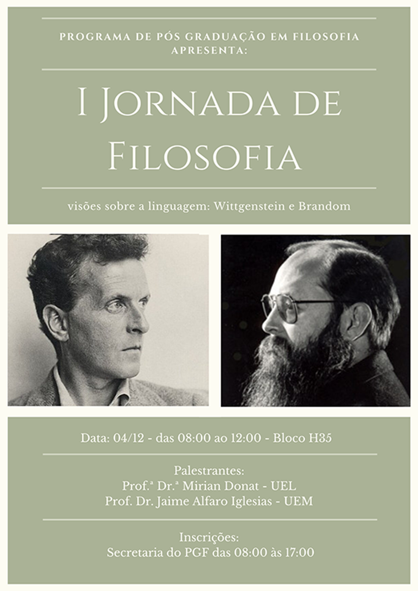 Evento vai debater a linguagem na obra dos filósofos Wittgenstein e Brandom